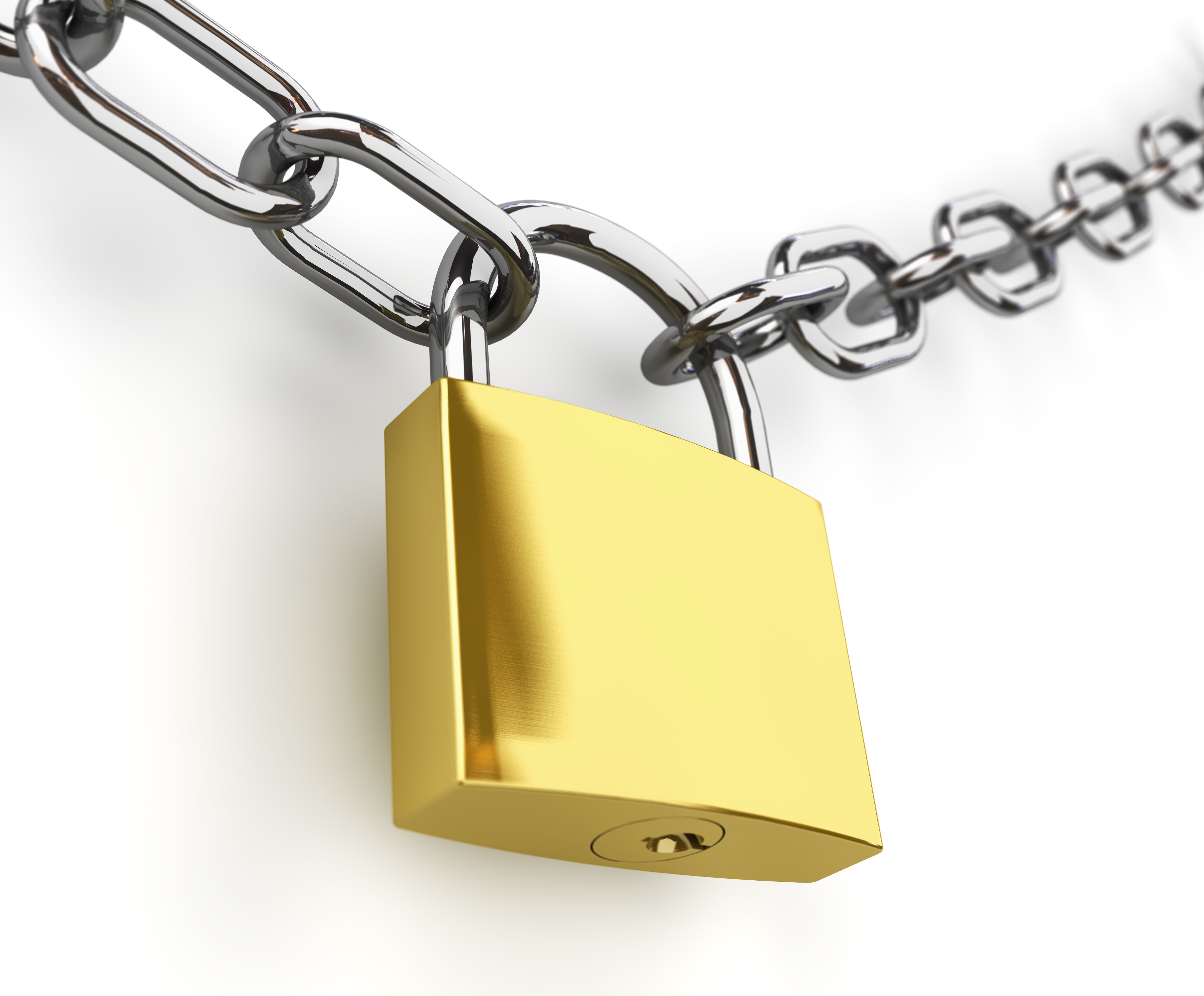 3d Padlock And Chain Isolated Adrian Steel