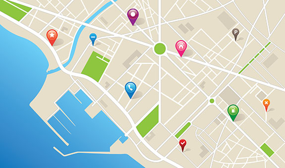 city map with pins | geofencing for your business | Adrian Steel