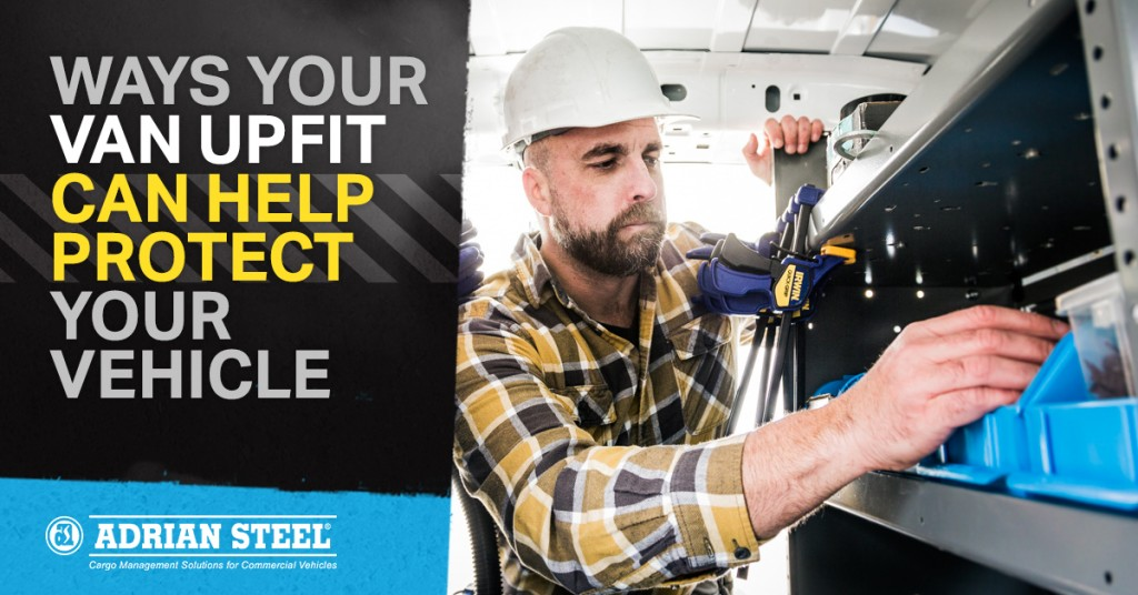 Male skilled trades worker looks for items in blue bins inside his van upfit - van equipment upfits