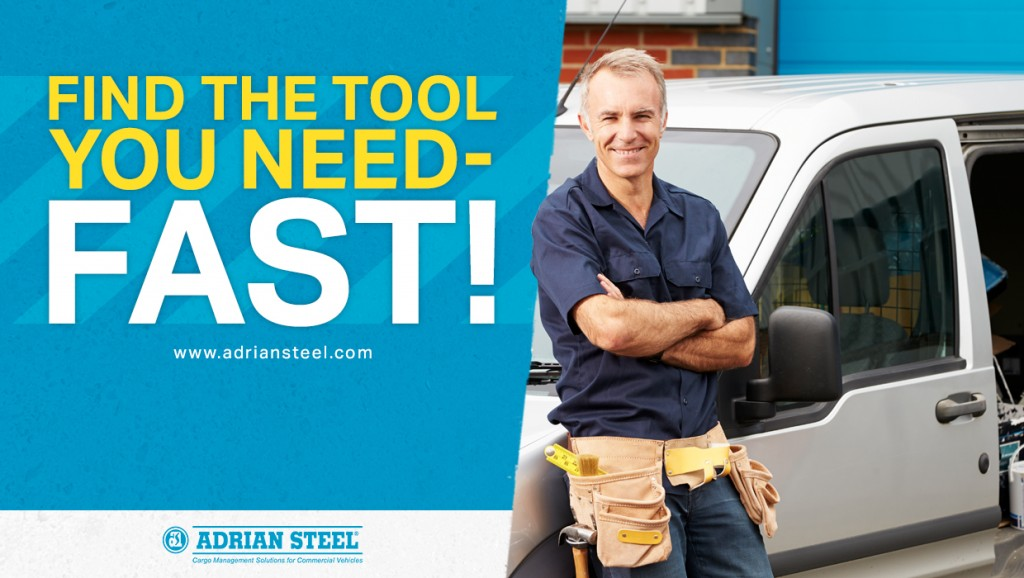 A plumber sitting against his van with an Adrian Steel upfit;Find the Tool You Need Fast