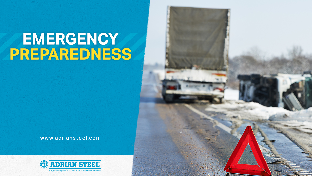 Emergency preparedness; a tipped-over semi-truck with a reflector signaling an accident