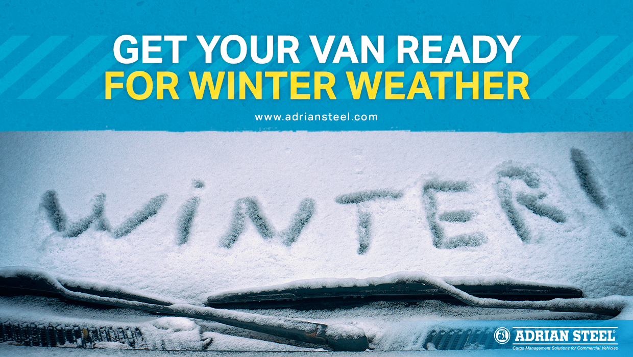 """Get your van ready for winter weather; a car with the word """"Winter!"""" written in the snow on the windshield"""